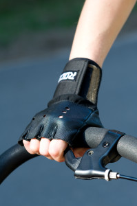 a hand in roller blading gloves