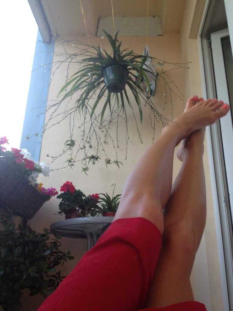 feet raised