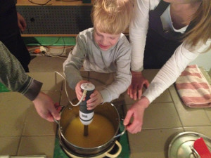 Beating the soap mixture