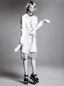 Razor's Edge: Sasha Pivovarova by David Sims for US Vogue jan' 14