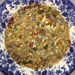 Breakfast Home Made Muesli: Mixed: Agave Syrup oven baked granola, walnuts, chia seeds, goji berries,hemp, flax-sesame-sunflower-pumpkin seeds. Add greek yogurt and blended berries.