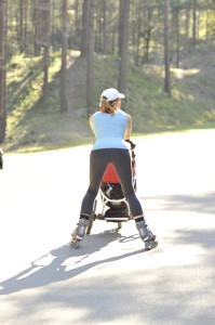 Wave exercise rollerblading with a stroller_2