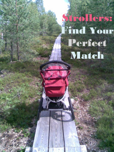 A jogging stroller on the wooden path
