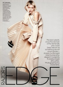 Razor's Edge: Sasha Pivovarova by David Sims for US Vogue jan' 14