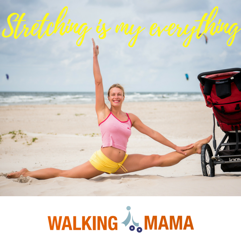 young women doing split on the beach with the baby stroller