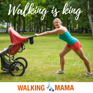 Young sporty mom walking with the stroller