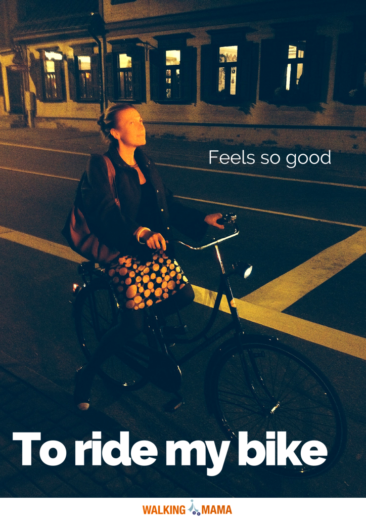 A young lady on a large city bike