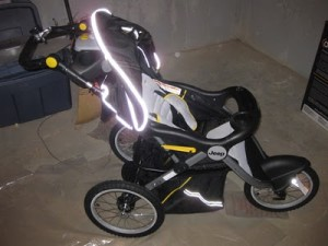 reflective tape on a jogging stroller